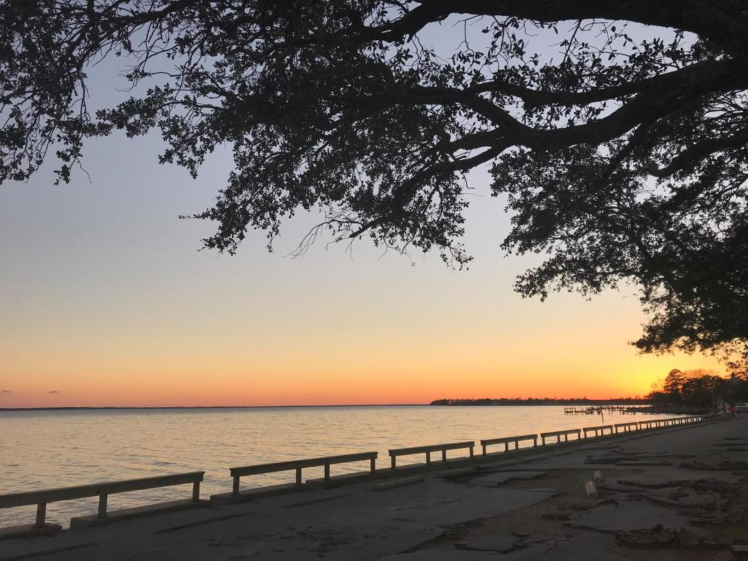 Image of sunset over the Neuse River, Christmas Night 2018.