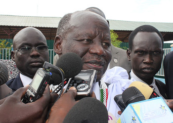 File photo: Lam Akol speaks to the media