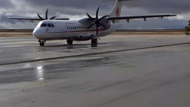 صورة إنطلاق اول رحلة جوية عبر مطار عبد الحفيظ بوصوف