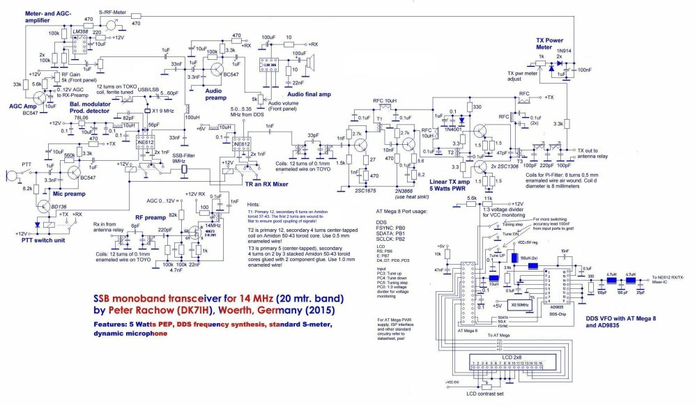 medium resolution of compact qrp transceiver for phone operation on the 20 meter band dk7ih