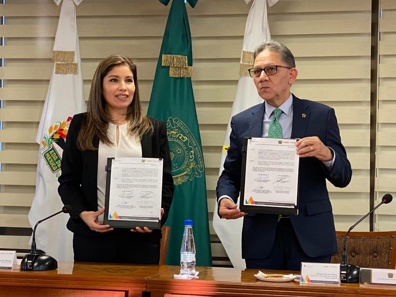 ISSEMyM FIRMA CONVENIO CON UAEMÉX PARA EL CUMPLIMIENTO DE PAGO DE CUOTAS DE LA INSTITUCIÓN EDUCATIVA