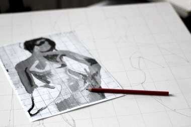 Sketching for a new oil painting - self portrait