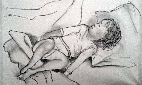 Charcoal sketch on paper - sleeping boy