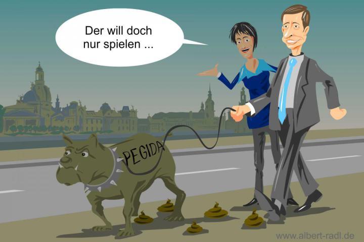 Die AfD sucht offen den Kontakt und die Zusammenarbeit mit der Dresdner Bewegung Pegida. <br>(Aus einer Zeit als sowohl Bernd Lucke als auch Frau K Petry noch Parteimitglieder waren ...)