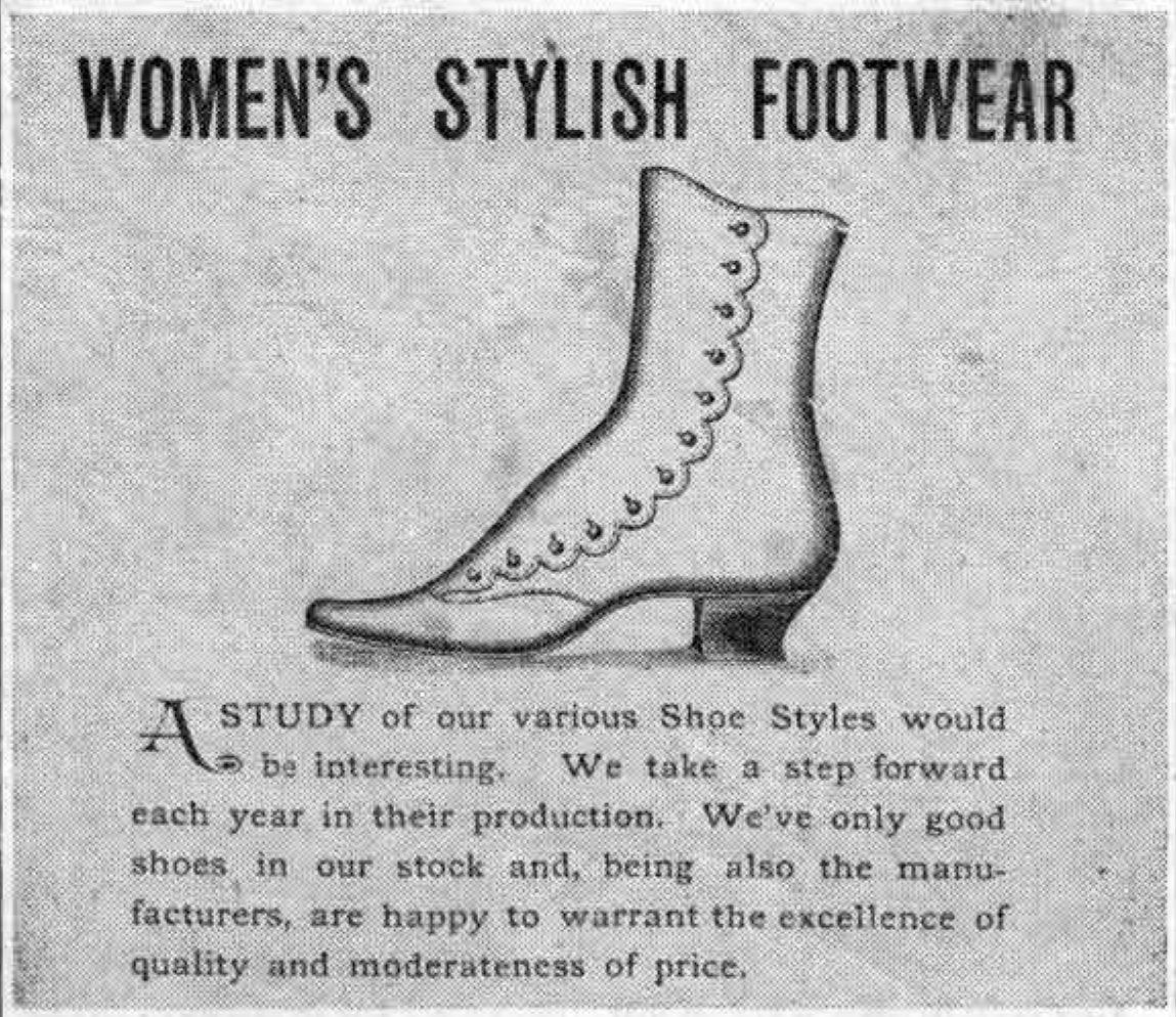 Early ads: Women's Stylish Footwear, the Wayne Mart, John