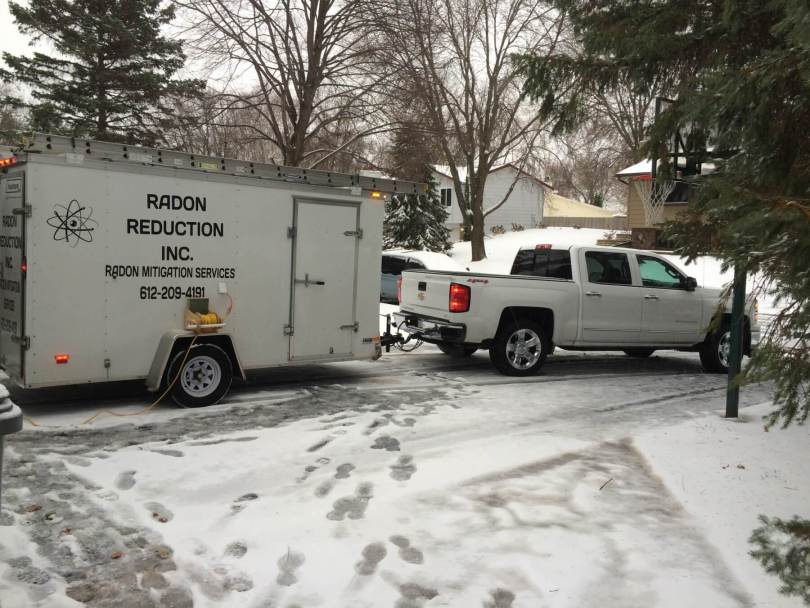 Radon Reduction truck and trailer.