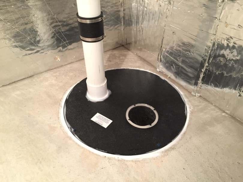 Sealed sump basket, part of a radon mitigation system.