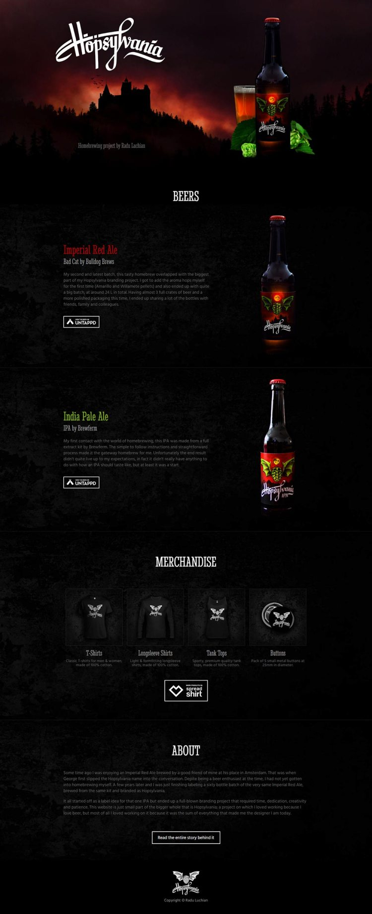 A single page layout that focuses on the brand