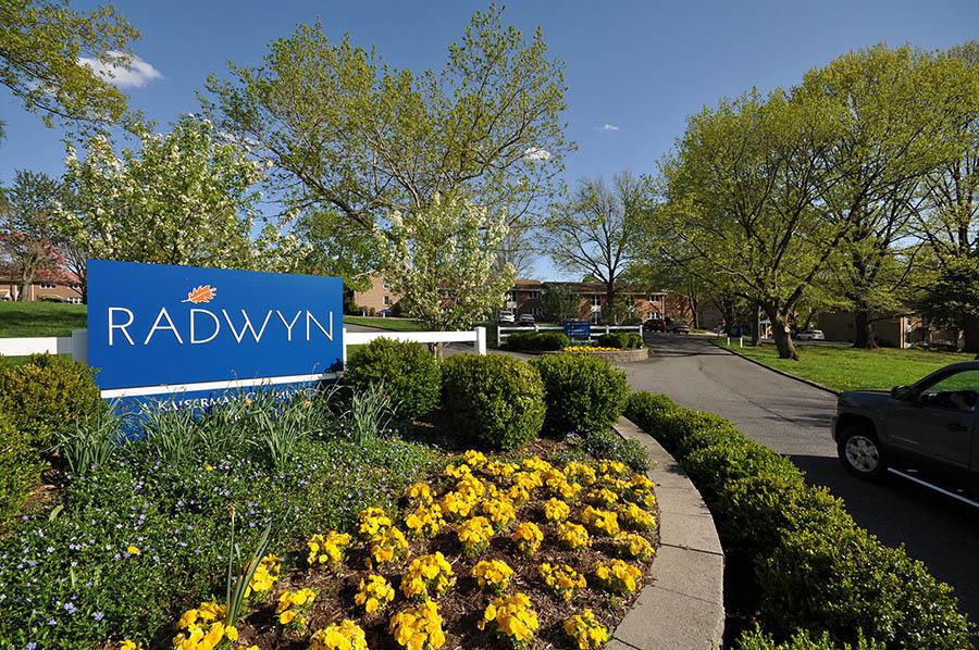 Entrance sign to Radwyn apartments in Bryn Mawr, PA