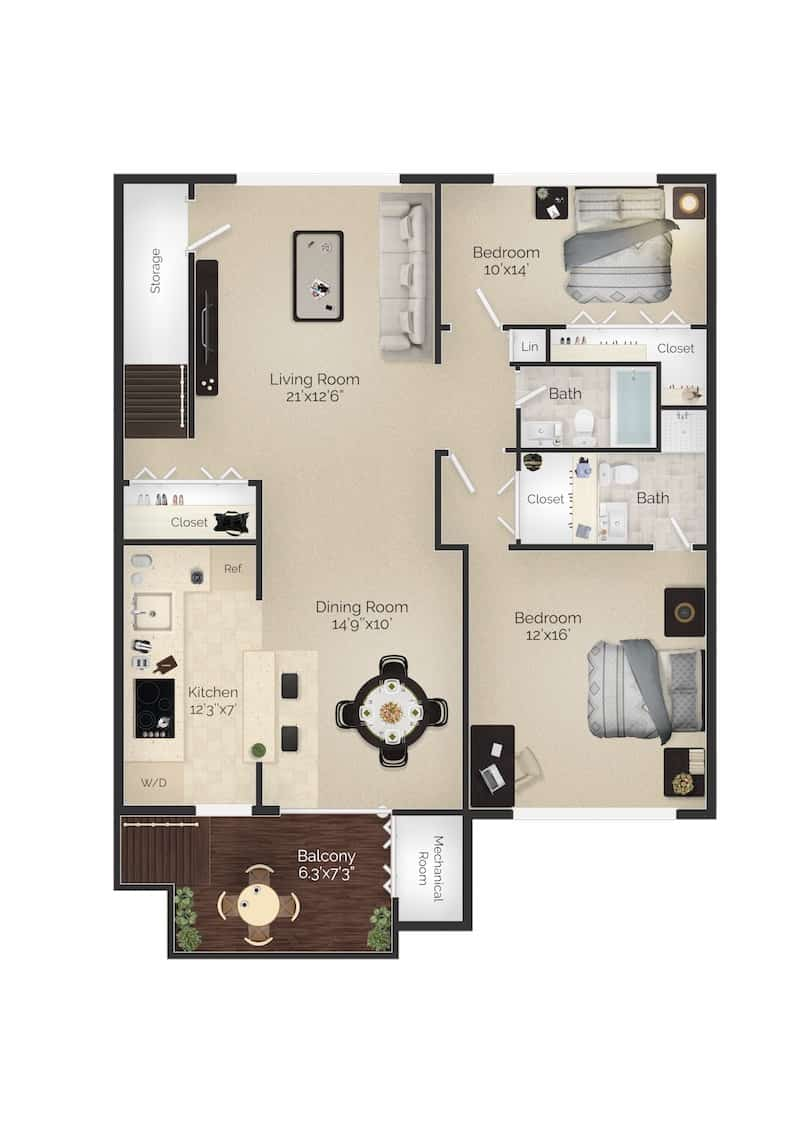 The Devon II 1,200 square foot 2 bedroom 2 bathroom apartment with outdoor living space at Radwyn Apartments