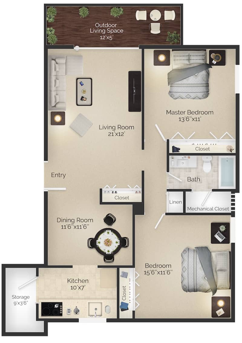 The Paoli I 1,050 square foot 2 bedroom 1 bathroom apartment with outdoor living space in Wayne, PA