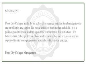 Pines City Colleges nanindigan sa polisyang mandatory