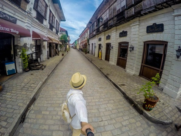 wearing a barong in Calle Crisologo, Vigan City