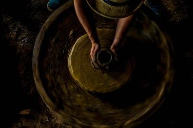 Pottery making at a pottery at Vigan City