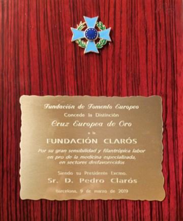Cruz europea de oro a la fundación Clarós
