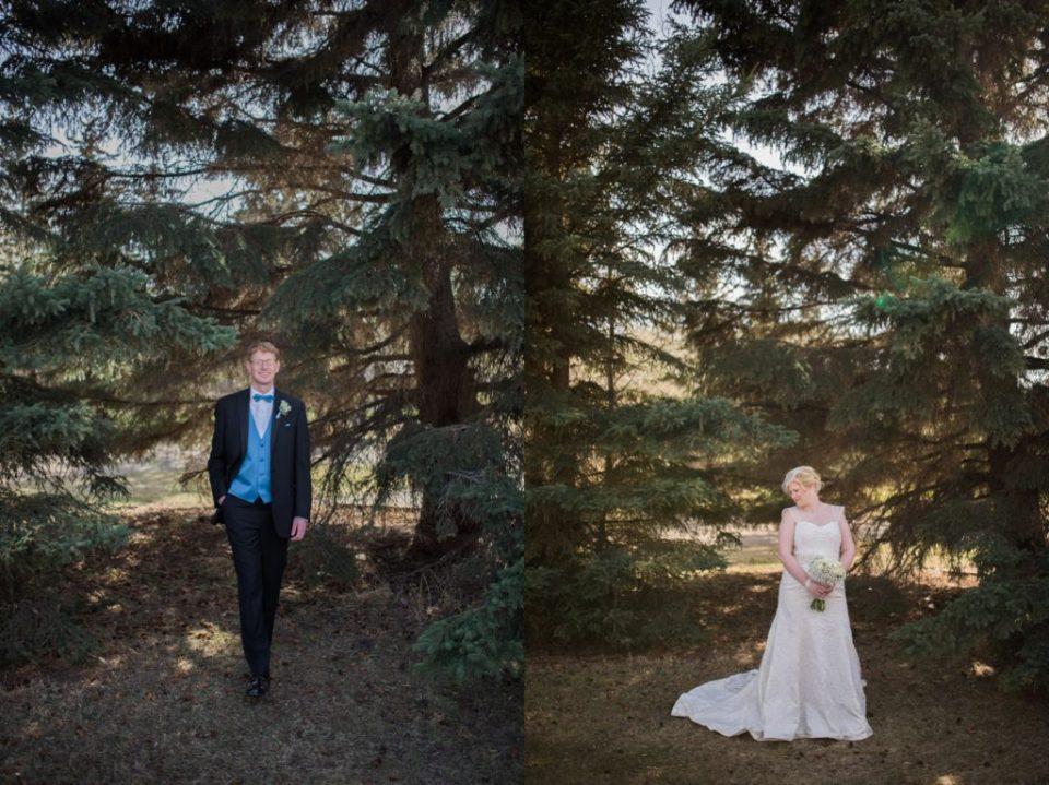 Bride and groom at Buffalo Lake, AB