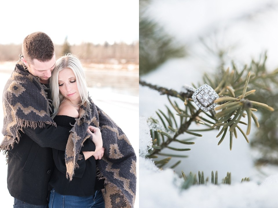 red deer photographers-red deer engagement photos-winter engagement in red deer-puggle in bowtie-red plaid coat and skinny jeans-River Bend Golf club-Raelene Schulmeister Photography