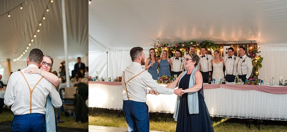 Bar Harbour White Tent Wedding | Red Deer Wedding | Light blue and Navy wedding inspiration | Summer wedding at a church camp in Alberta
