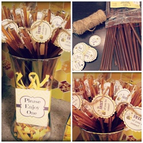 Bee Themed Baby Shower // Favor Ideas // Honey Sticks // Free Printables