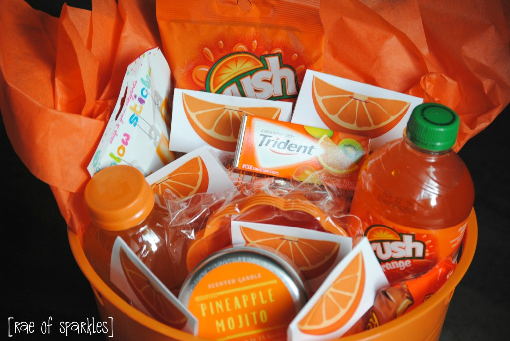Ingredients for an Orange Gift Basket - Perfect Congratulations Gift!