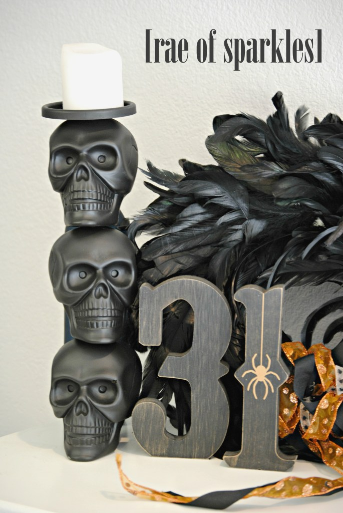 Hallowen Decor Ideas from the Dollar Store - DIY Dollar Store Skull Candlestick