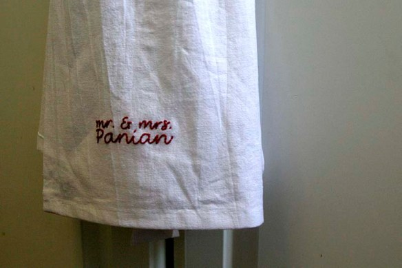 embroidered mr and mrs towels
