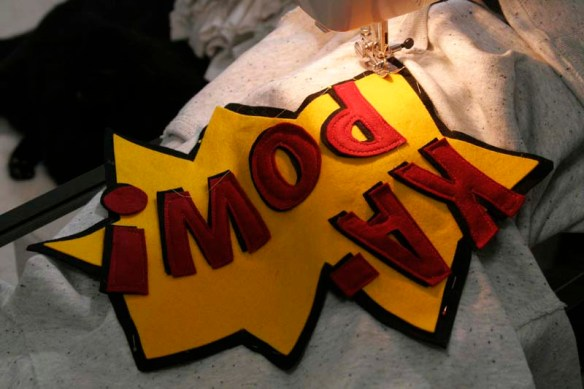 sewing comic book sweatshirt