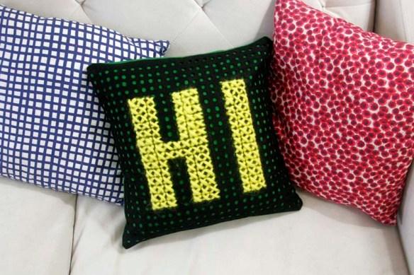 cross stitch pillow on rae's days