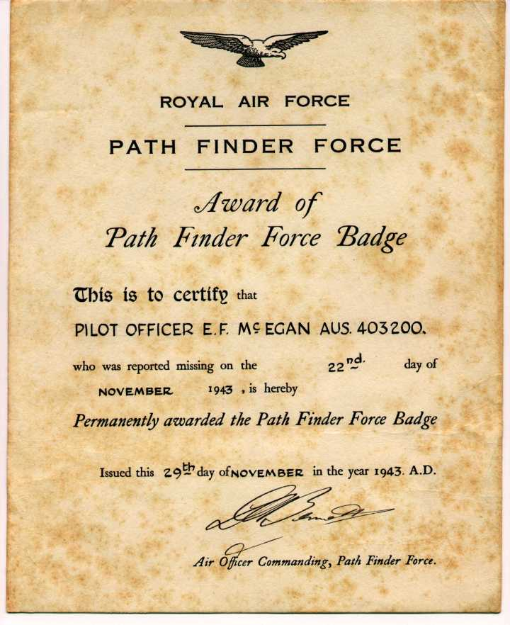Frank McEgan PFF certificate