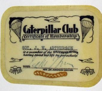 Caterpillar Club Membership. Courtesy of John Arthurson.