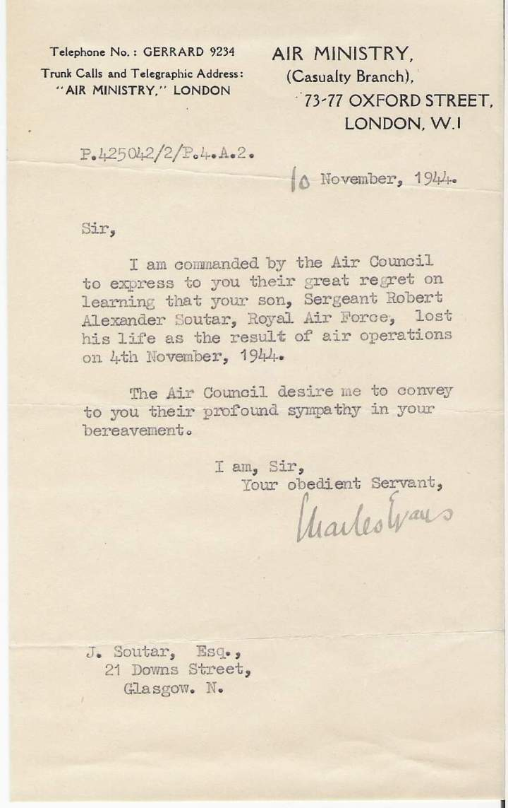 soutar, air ministry letter