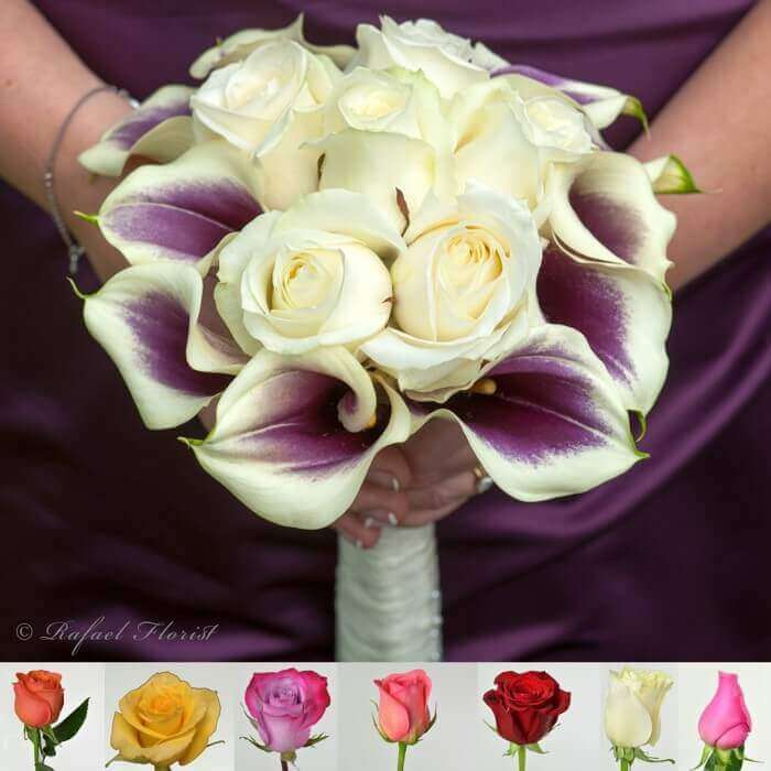 Purple Calla Lilies And White Roses Wedding Bouquet For The Bride Or