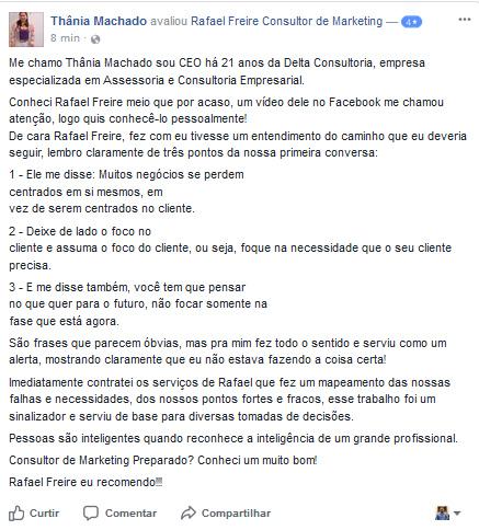 Depoimento Thania Machado sobre o trabalho de Rafael Freire