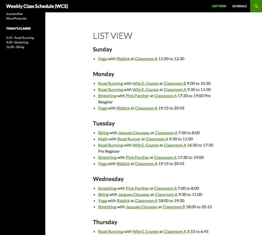 Weekly Class Schedule - Screenshot 4