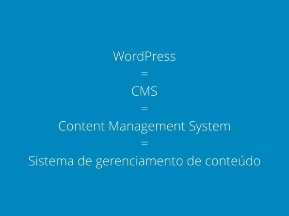 WordPress = CMS = Content Management System = Sistema de gerenciamento de conteúdo