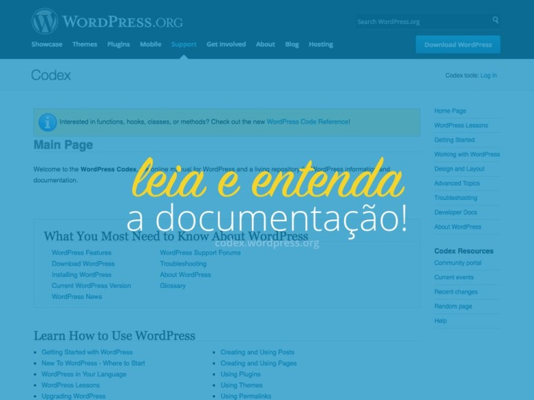 "Texto ¨Leia e entenda a documentação do WordPress"" sobre uma captura de tela do site codex.WordPress.org"