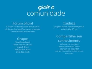 Slides explicando onde ajudar a comunidade WordPress: Fórum oficial, grupos em redes sociais, traduções e eventos