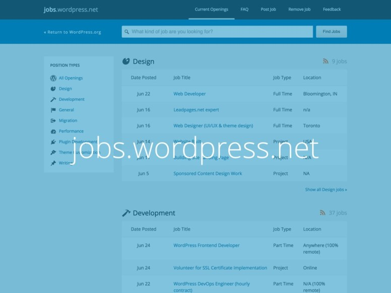 Captura de tela do site jobs.wordpress.net com o texto jobs.wordpress.net escrito sobre ela