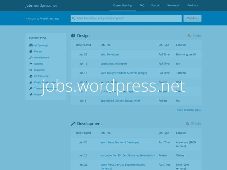 Captura de tela do site jobs.wordpress.net com o texto jobs.wordpress.net escrito sobre ela