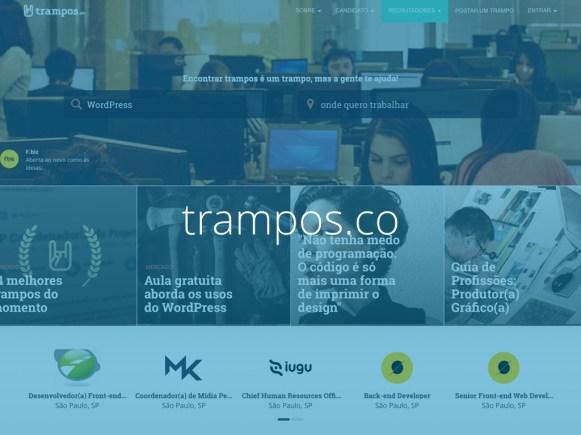 Captura de tela do site trampos.co com o texto trampos.co escrito sobre ela