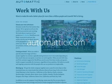 Captura de tela do site da Automattic.com com o texto automattic.com escrito sobre ela
