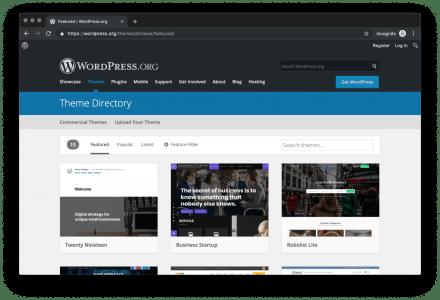 Captura de tela dos temas em destaque em wordpress.org/themes