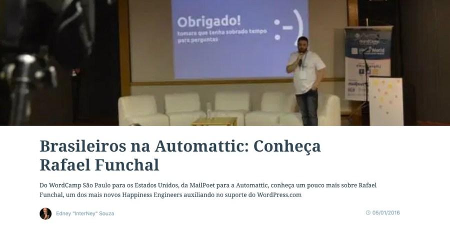 Captura de tela do blog WordPress.com com a entrevista Brasileiros na Automattic: Conheça Rafael Funchal
