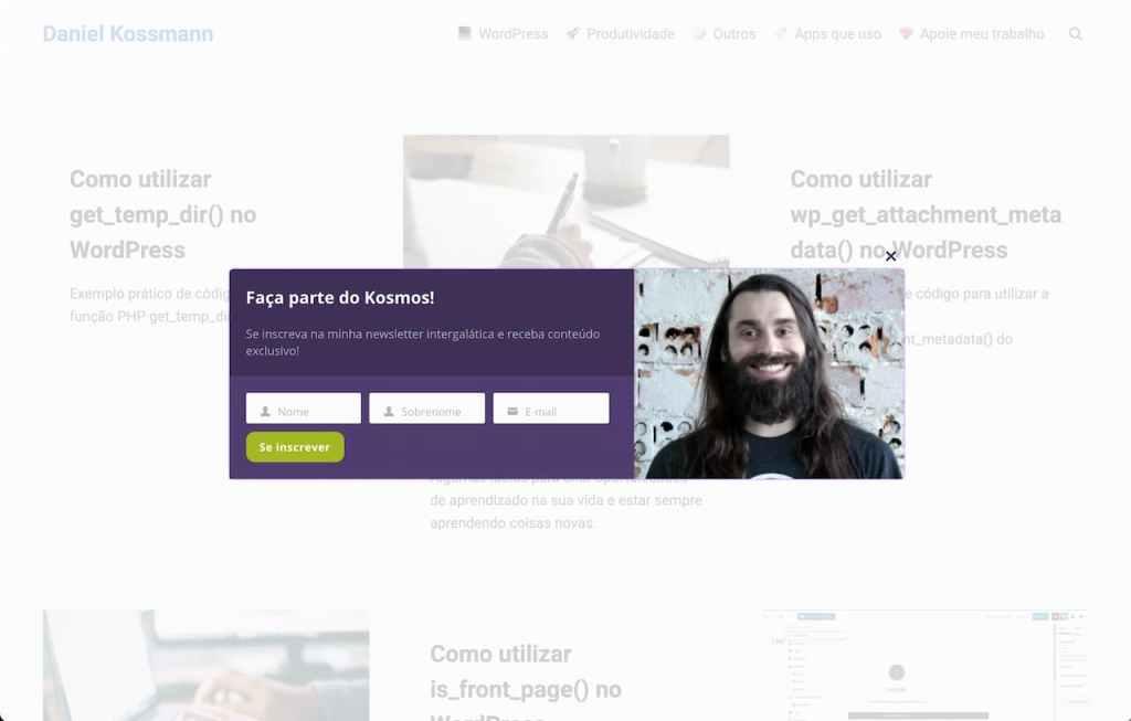 Captura de tela do site danielkossmann.com
