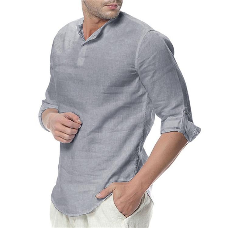 Breathable Long Sleeved Linen Shirt for Men