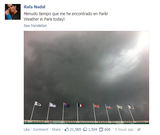 Rafael Nadal's Facebook May 23 2013