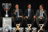 Novak Djokovic, Rafael Nadal, and Roger Federer attend the ATP Heritage Celebration at The Waldorf=Astoria on August 23, 2013 in New York City. // Getty Images North America