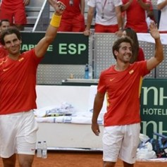 Rafael Nadal and Marc Lopez - Davis Cup - Spain Ukraine (24)