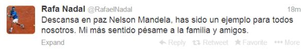 Rafael Nadal On Death Of Nelson Mandela