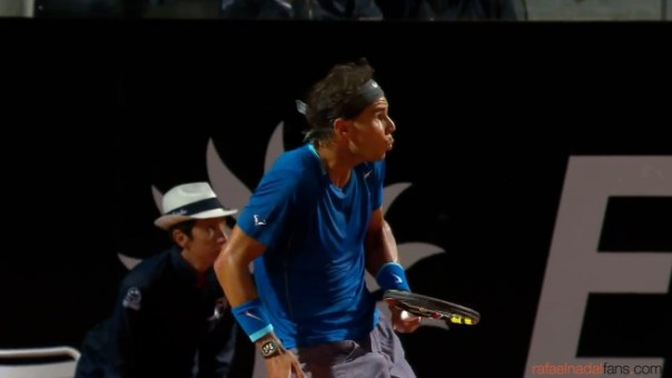Rafa Nadal's reaction after smashing the ball into the crowd